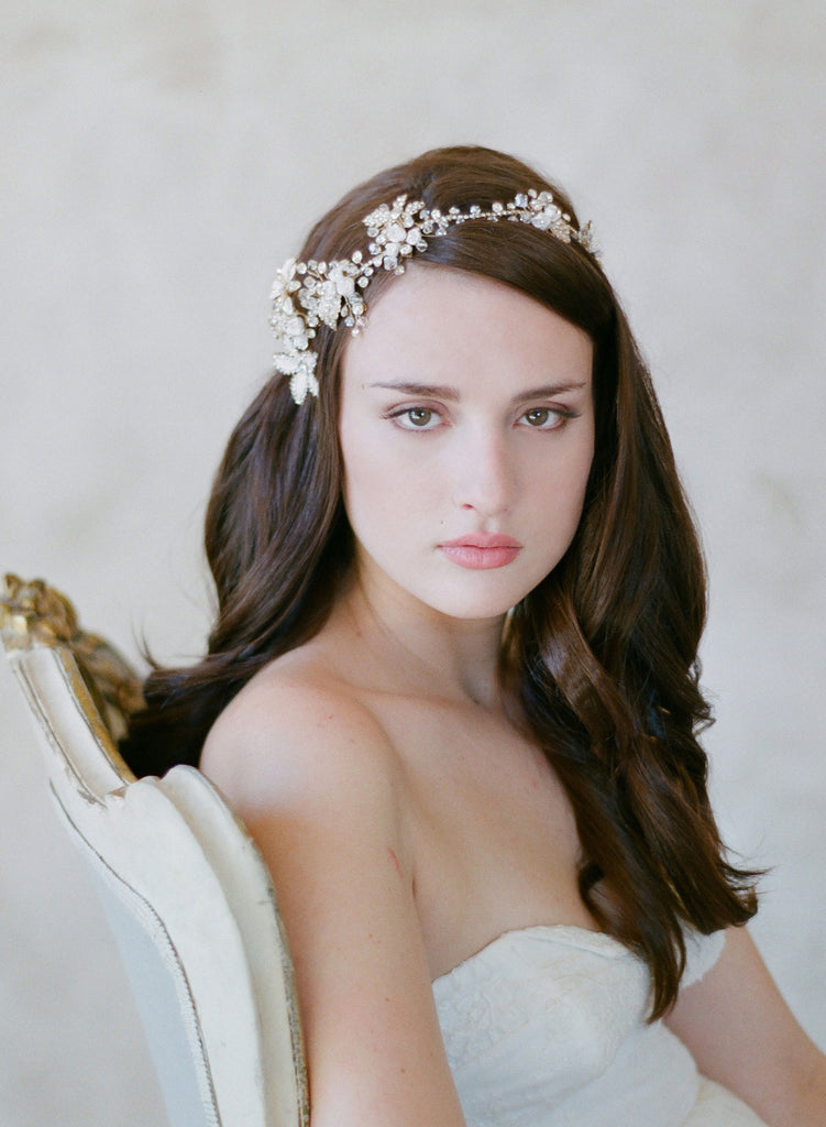 whimsical bridal headpiece, hair vine, asymmetrical, crystal flower, enamel, twigs and honey