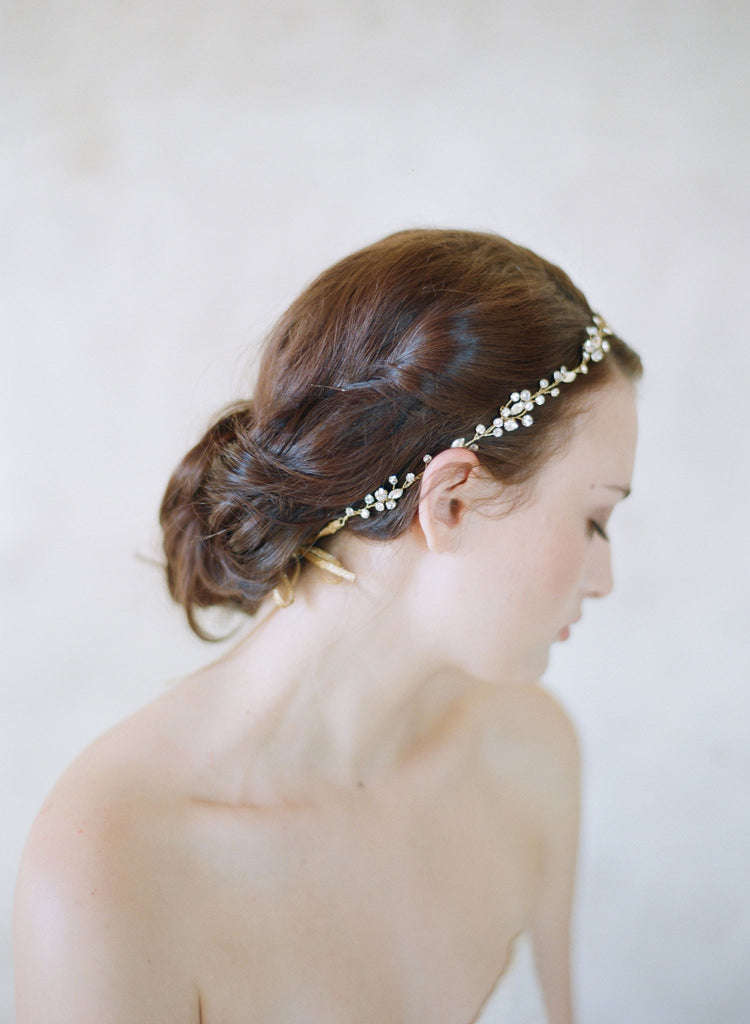 crystal hair vine, wedding headpiece, bridal headband, twigs and honey