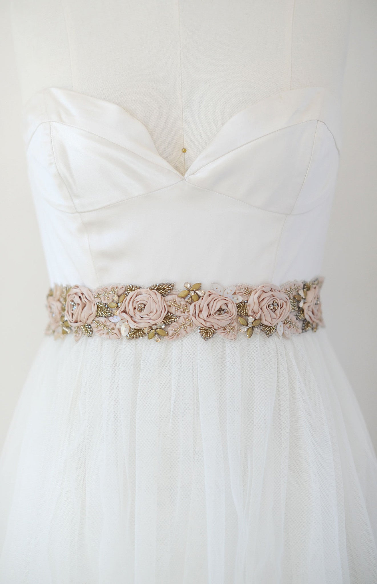 Antique silk rose and crystal headwrap/sash - Style #550 | Twigs ...