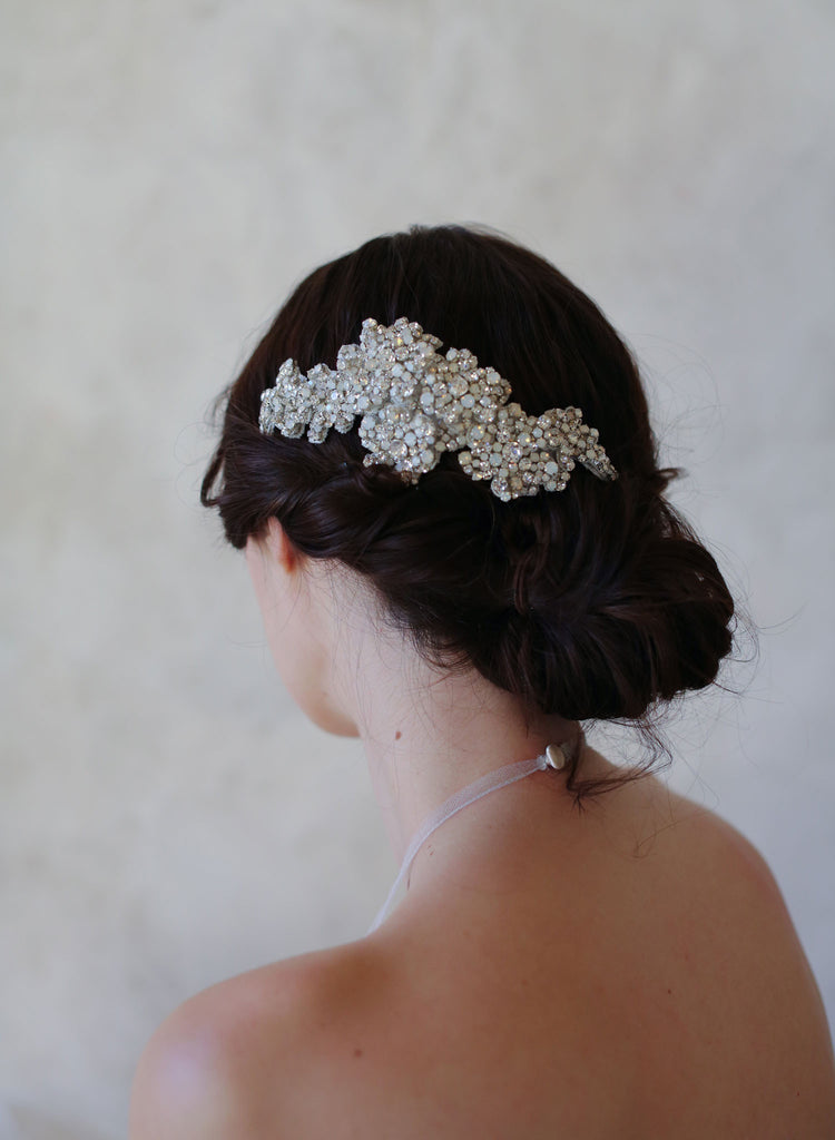rhinestone crystal bridal hair flower, modern headpiece, bridal hairstyle