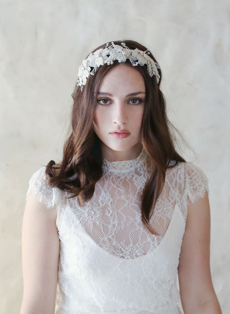 Embroidered 3D flower and crystal headband - Style #553