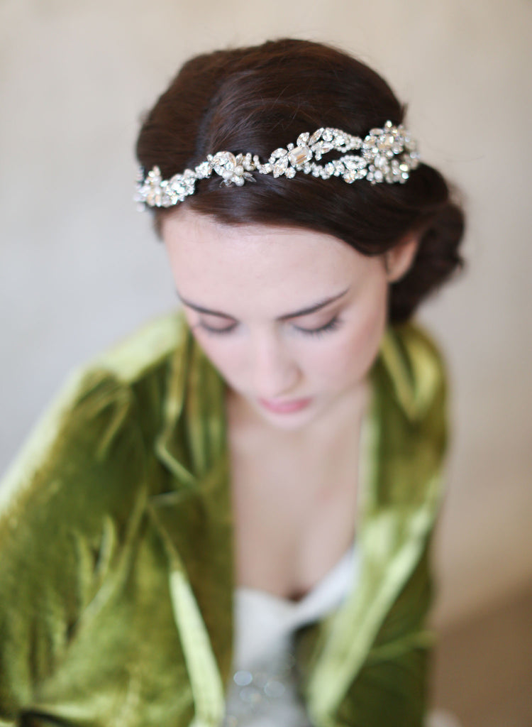 bridal pearl headpiece, bridal headband, wedding headband, crystals, twigs and honey