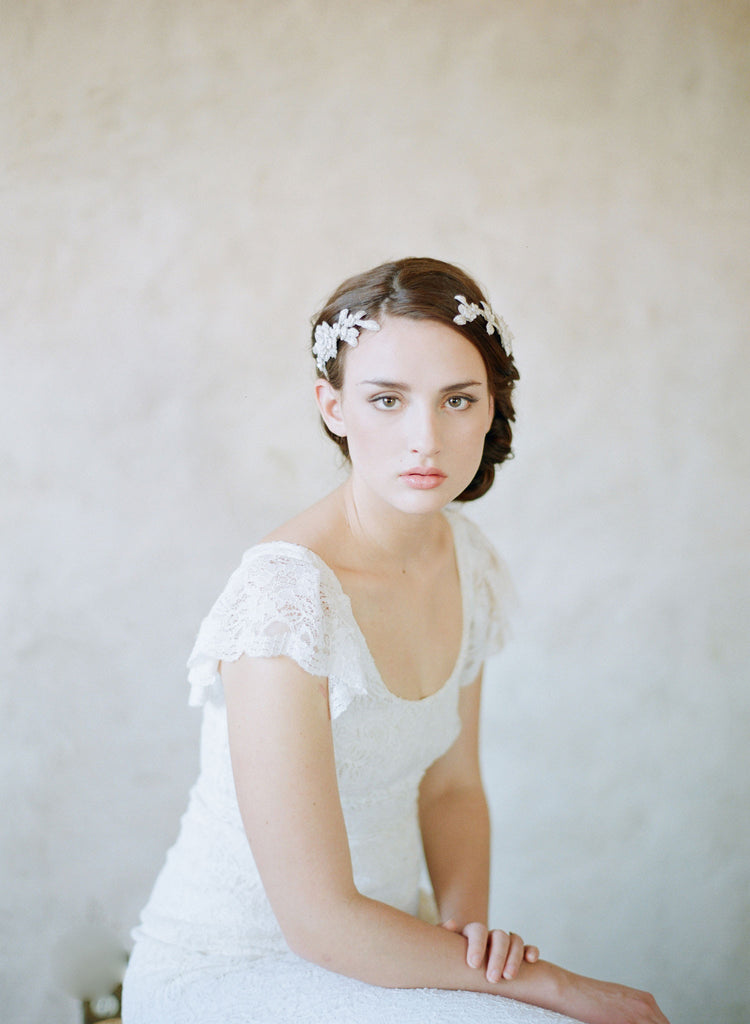 beaded and embroidered hair vine comb, twigs and honey, wedding headpiece