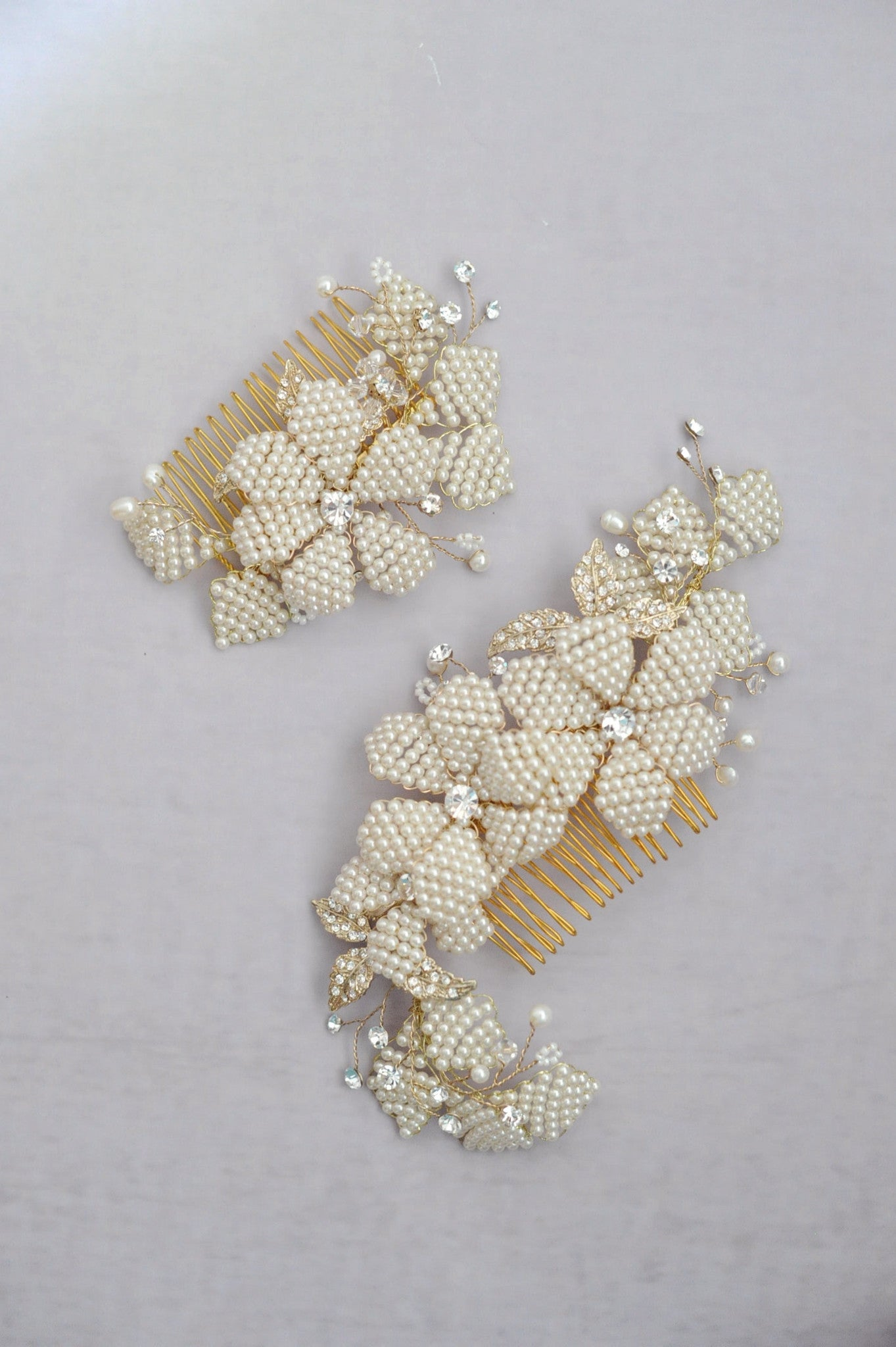 Beaded petal comb pair - Style #562