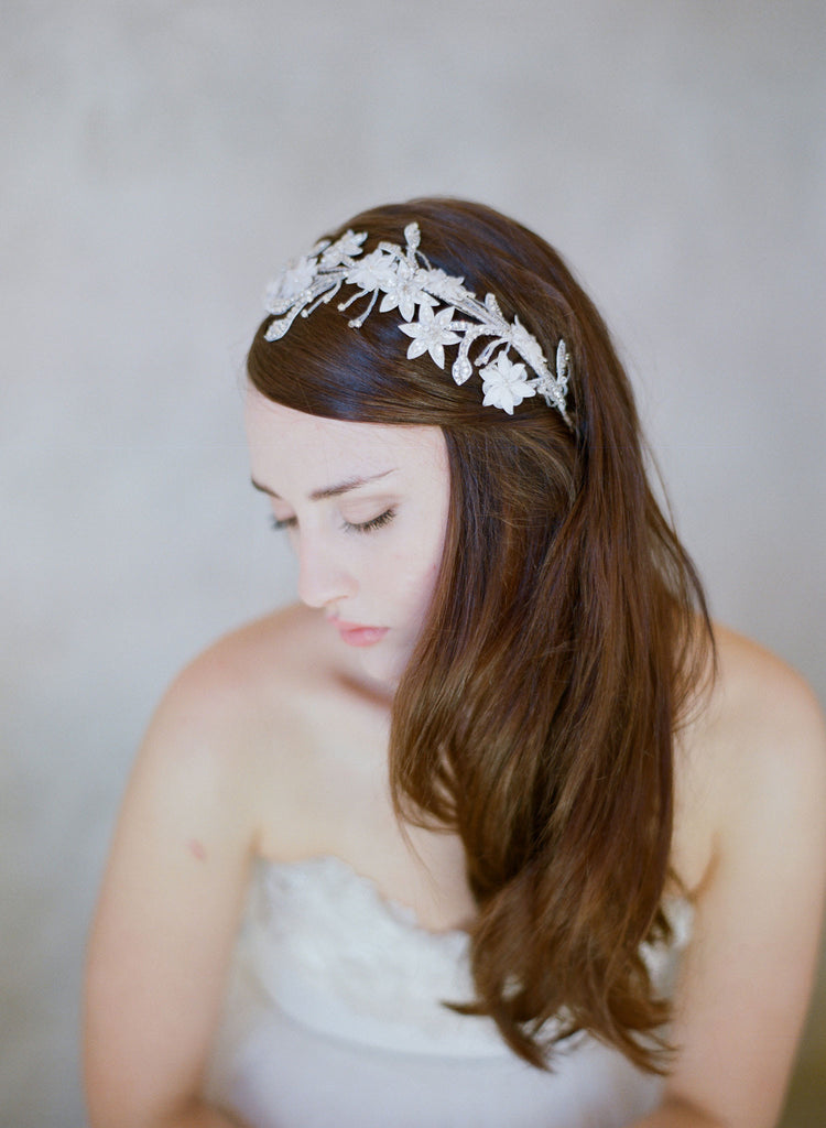 crystal blossom branch headband, twigs and honey, embroidered