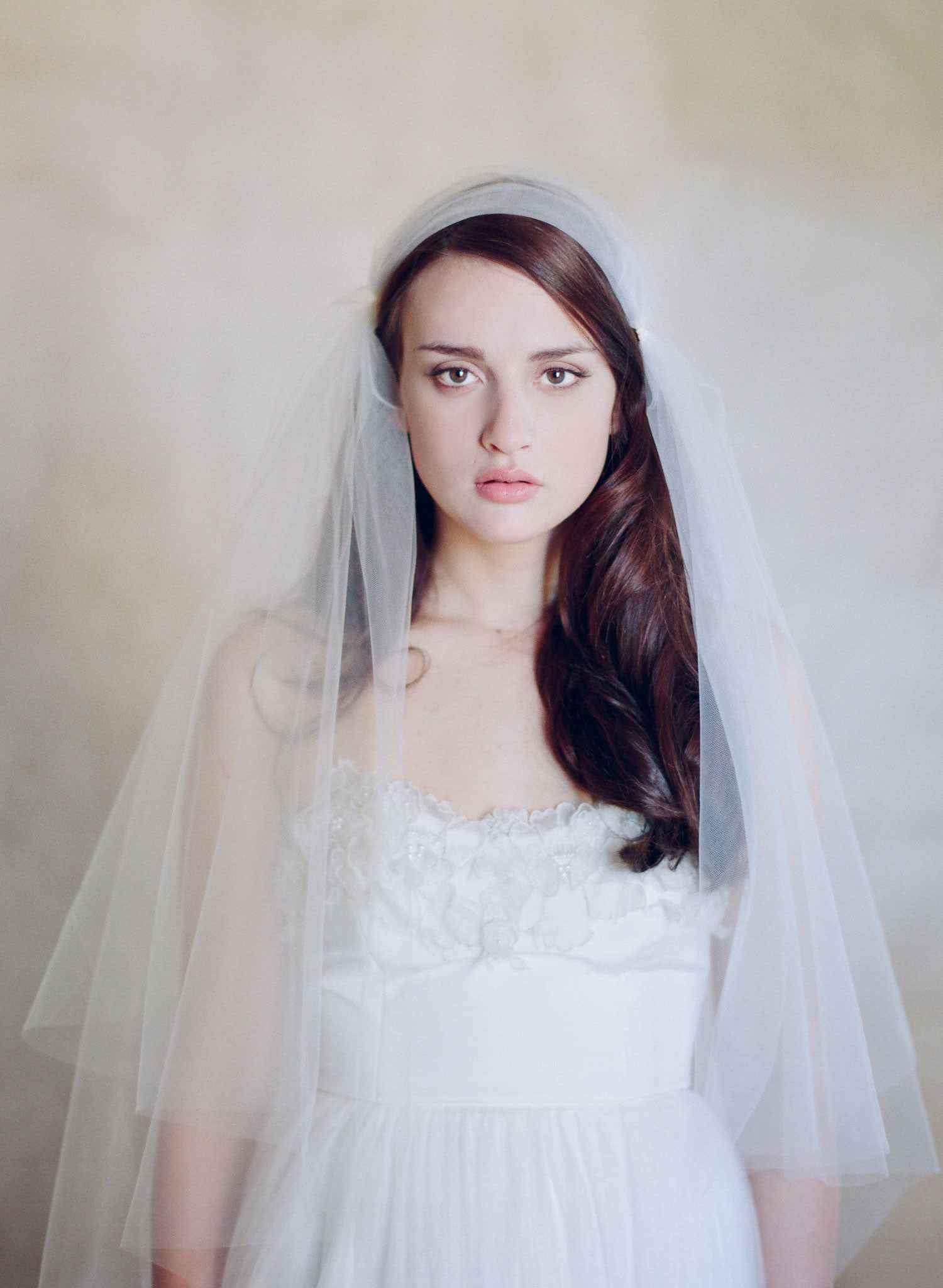 Juliet fingertip, chapel, and cathedral length veil with blusher - Style #566