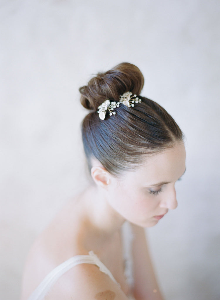 bridal flower hairpins, twigs and honey for bhldn, bobby pins, bridal hair pins