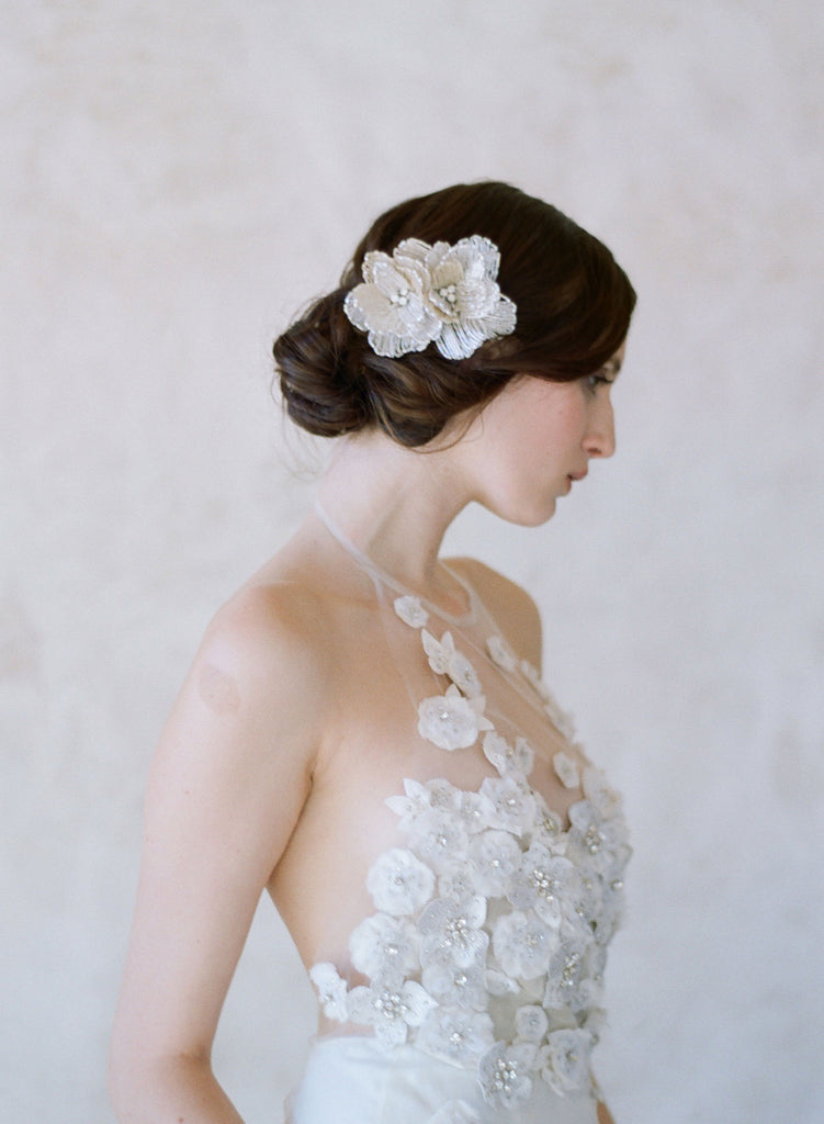 three dimensional beaded flower comb, bridal headpiece, twigs and honey flowers