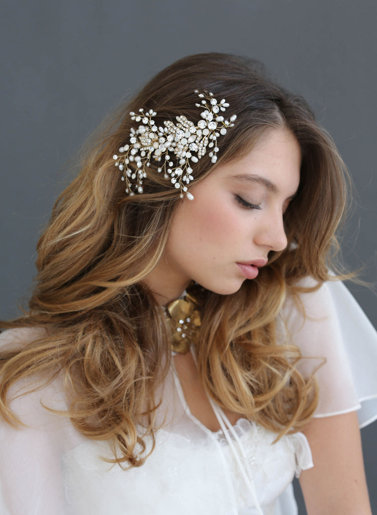 Swarovski freshwater pearls, crystals, bridal hair comb, twigs and honey