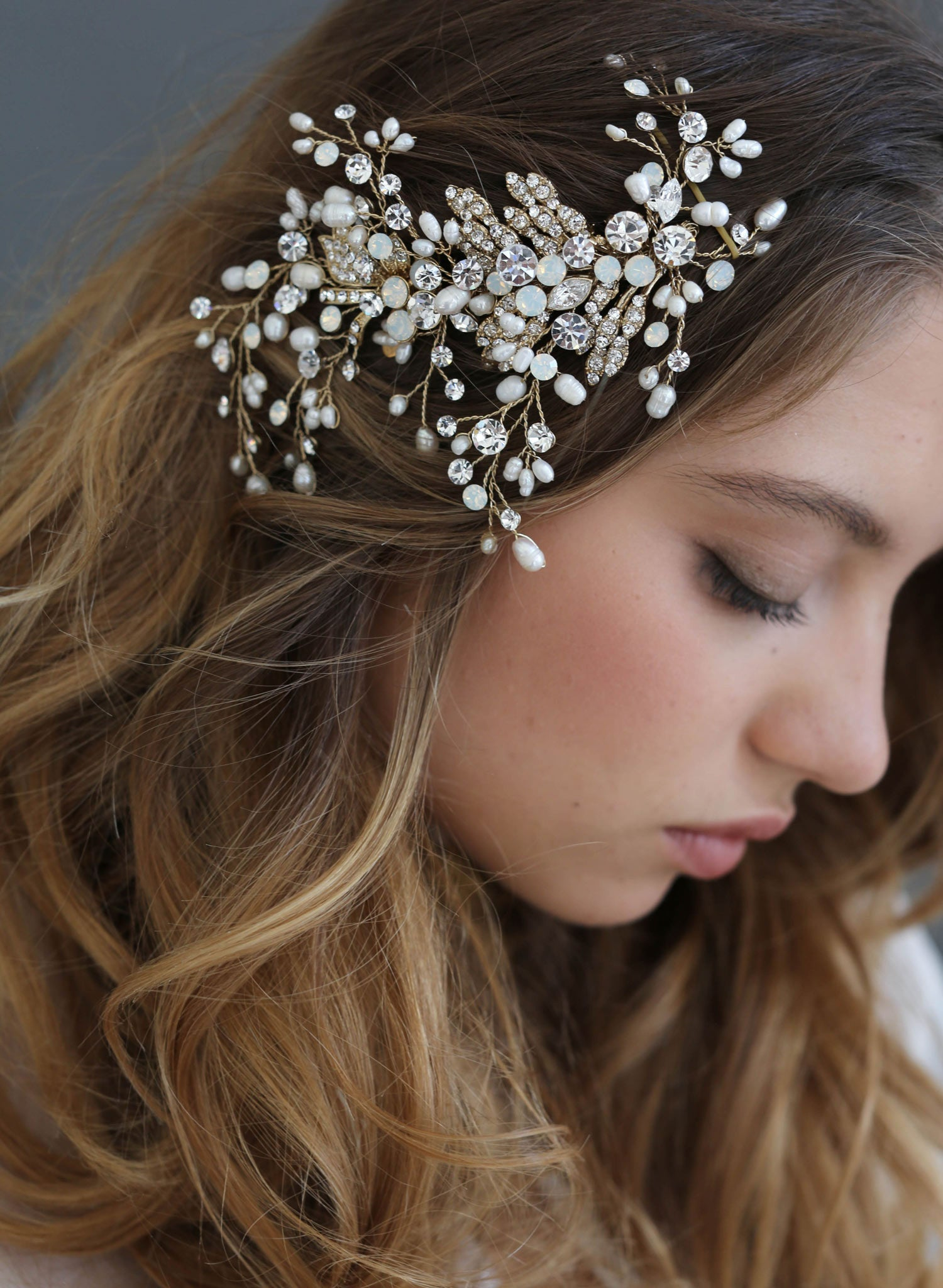 Br Bridal Headpieces Twigs And Honey -  swarovski freshwater pearls crystals bridal hair comb twigs and honey