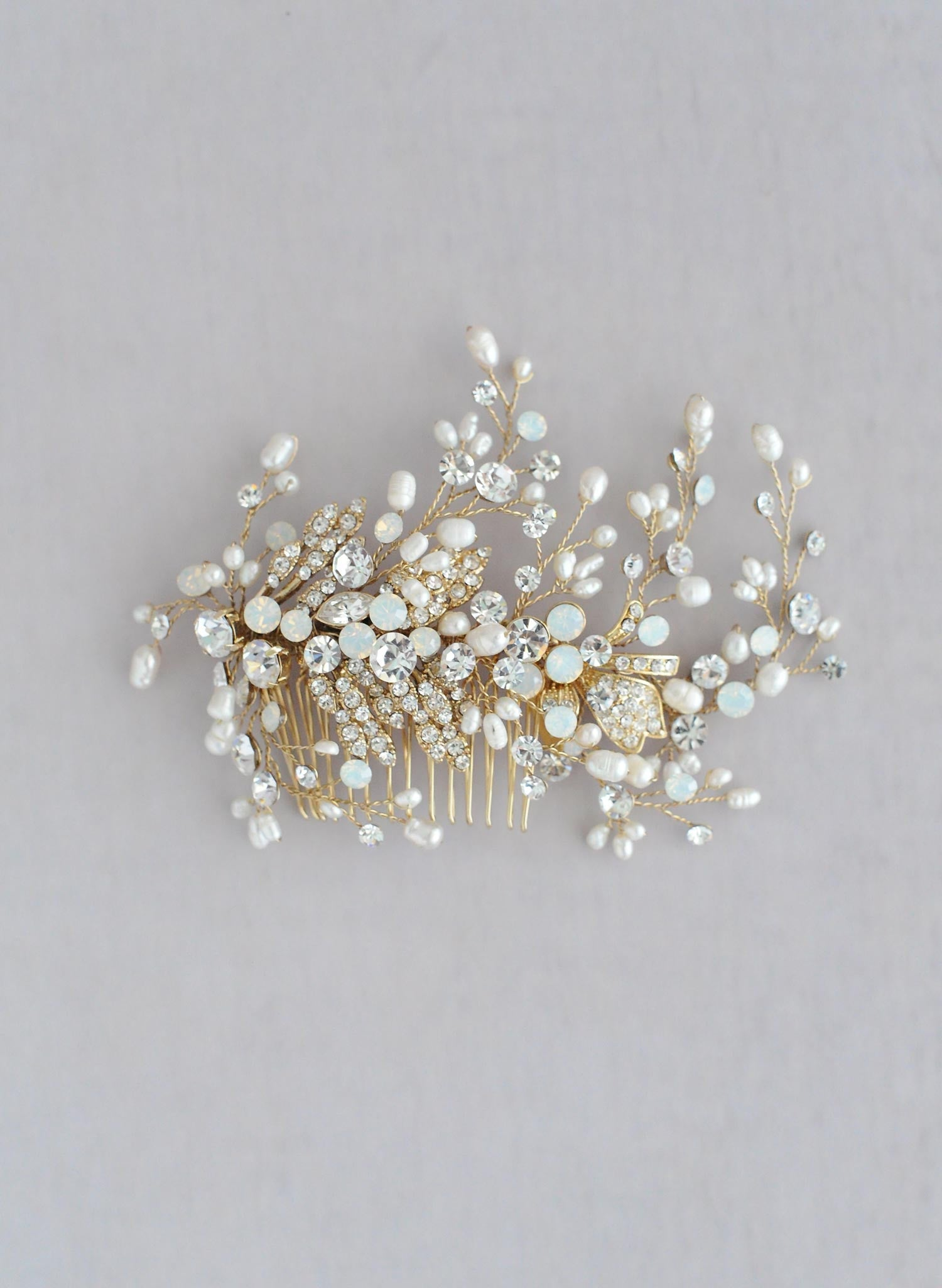 White opal and crystal, pearl spray comb - Style #601