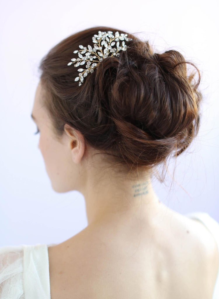 Swarovski crystals, bridal hair comb, twigs and honey