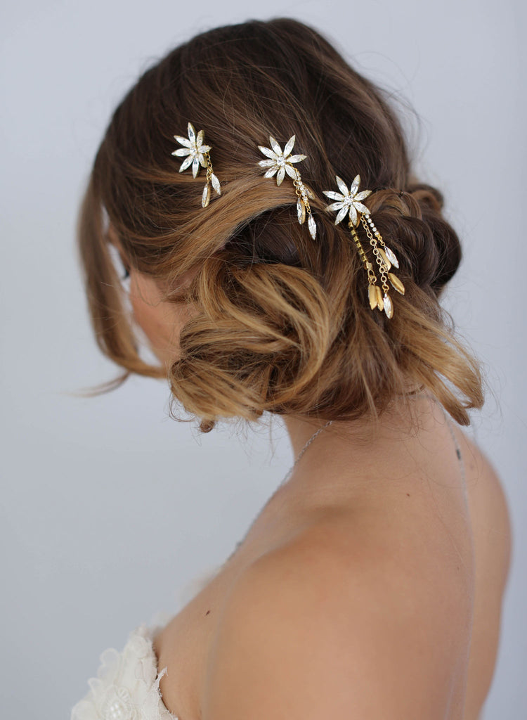 Swarovski crystal star bobbies, twigs and honey, bridal hair piece