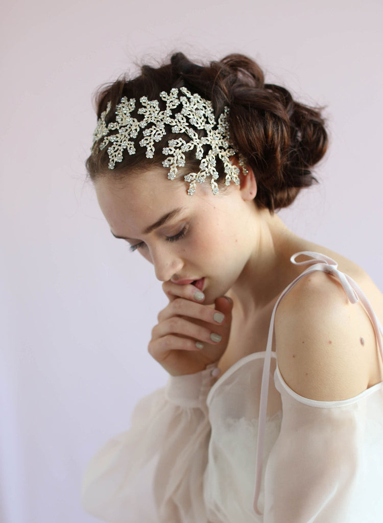 Swarovski crystal daisy bridal headpiece, twigs and honey