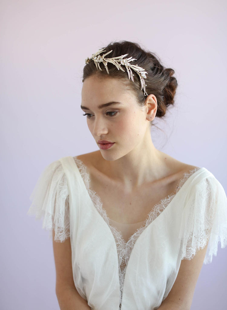 Dramatic leafy bridal headpiece, bridal headband, twigs and honey