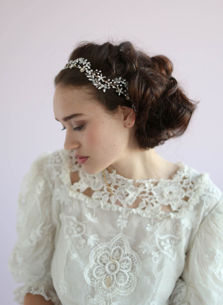 Navette Swarovski crystal wave headpiece, bridal headpiece, twigs and honey