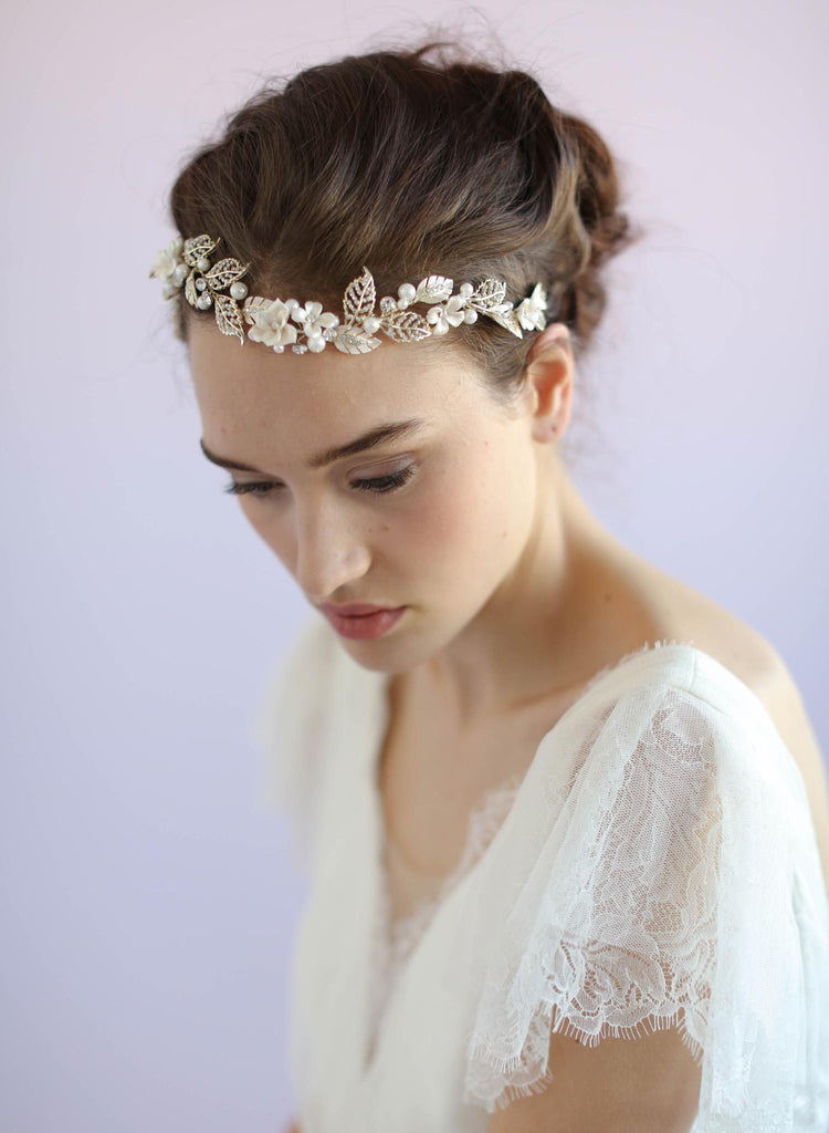 Clay flower leaf charm headpiece, bridal headpiece, twigs and honey