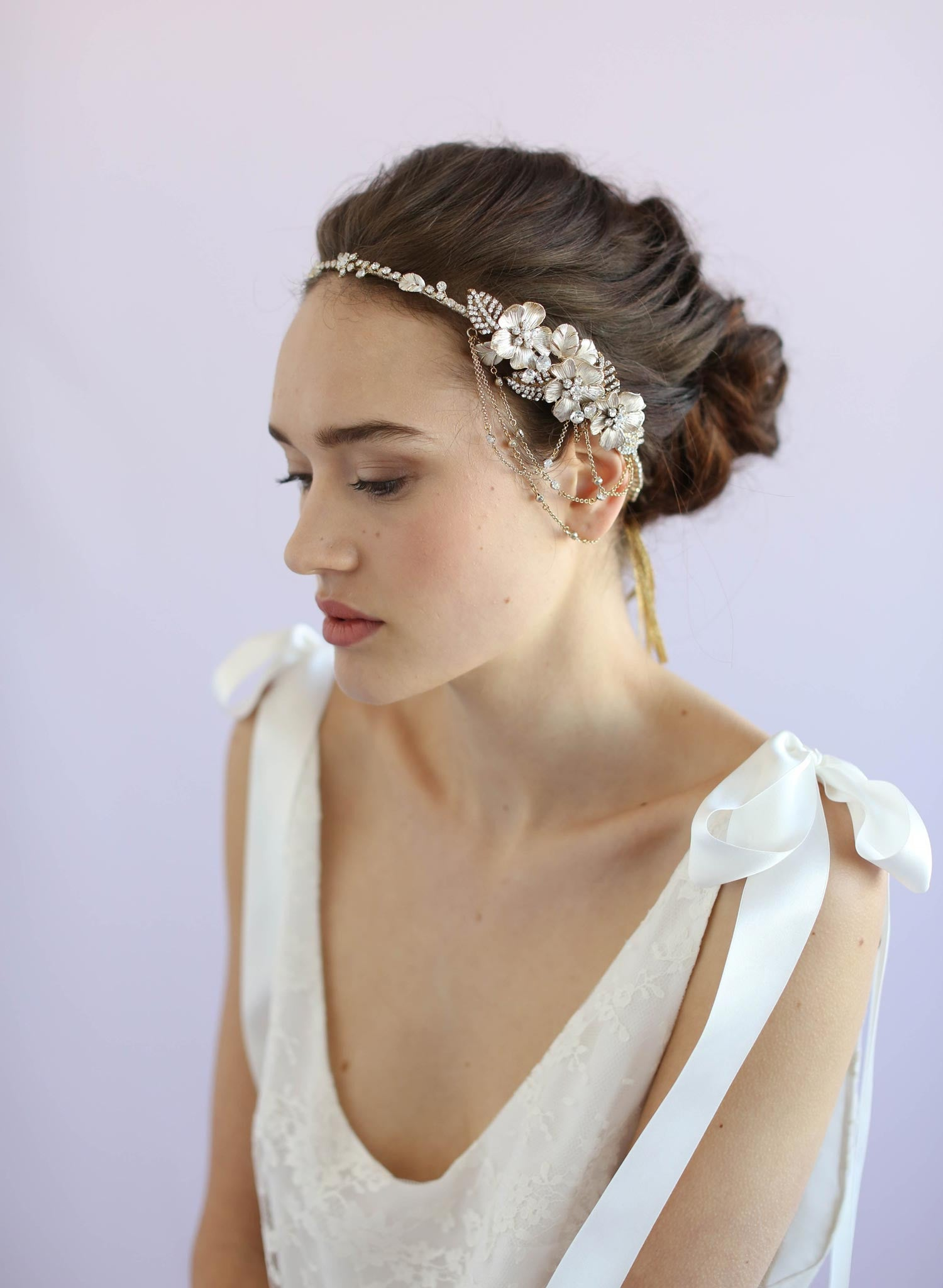 Asymmetrical floral and crystal swag headpiece - Style #614