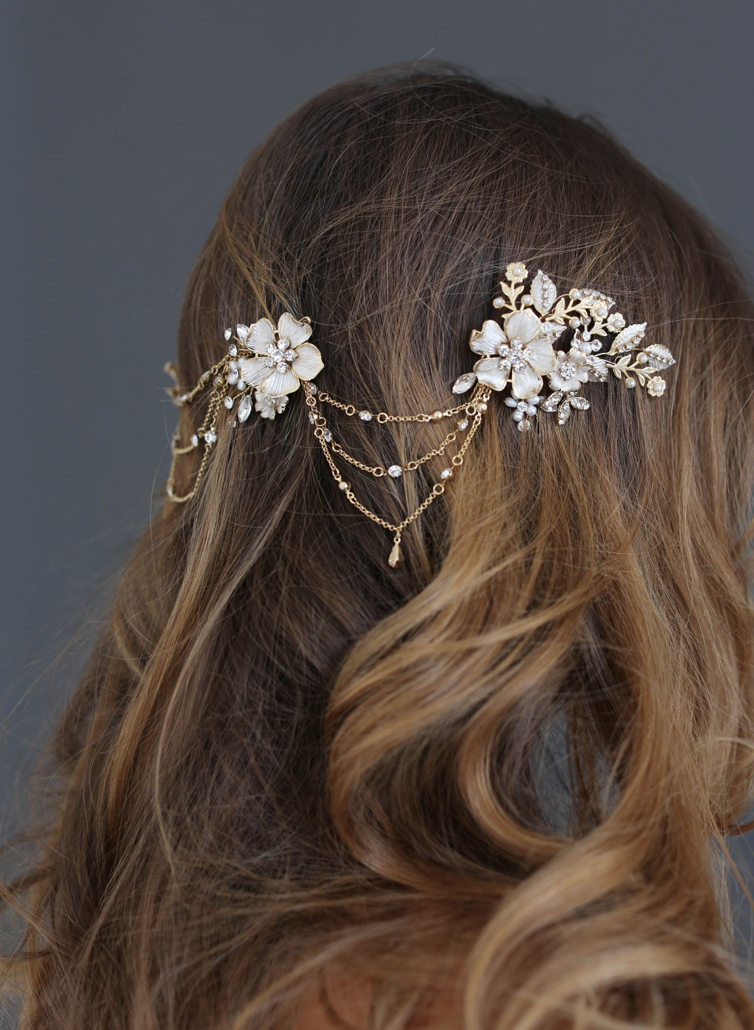 Br Bridal Headpieces Twigs And Honey -  floral swag bridal headpiece twigs and honey bridal headband