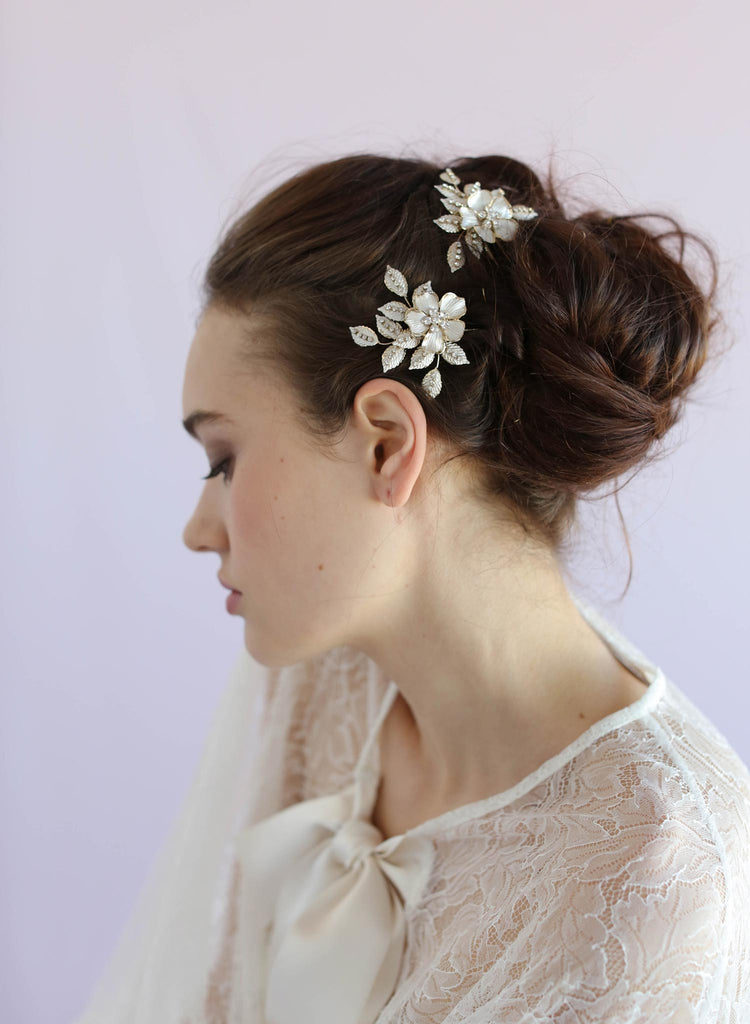 Crystal blossom bobby pins, twigs and honey, hairpieces