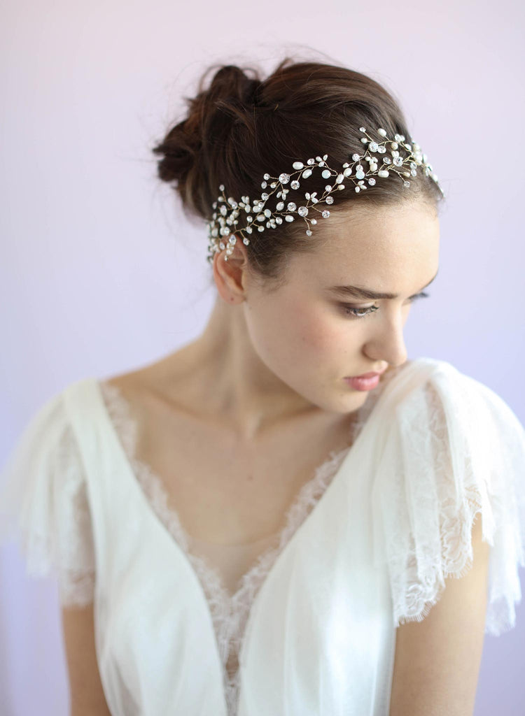 Beaded opal hair vine, bridal headband, bridal sash, twigs and honey