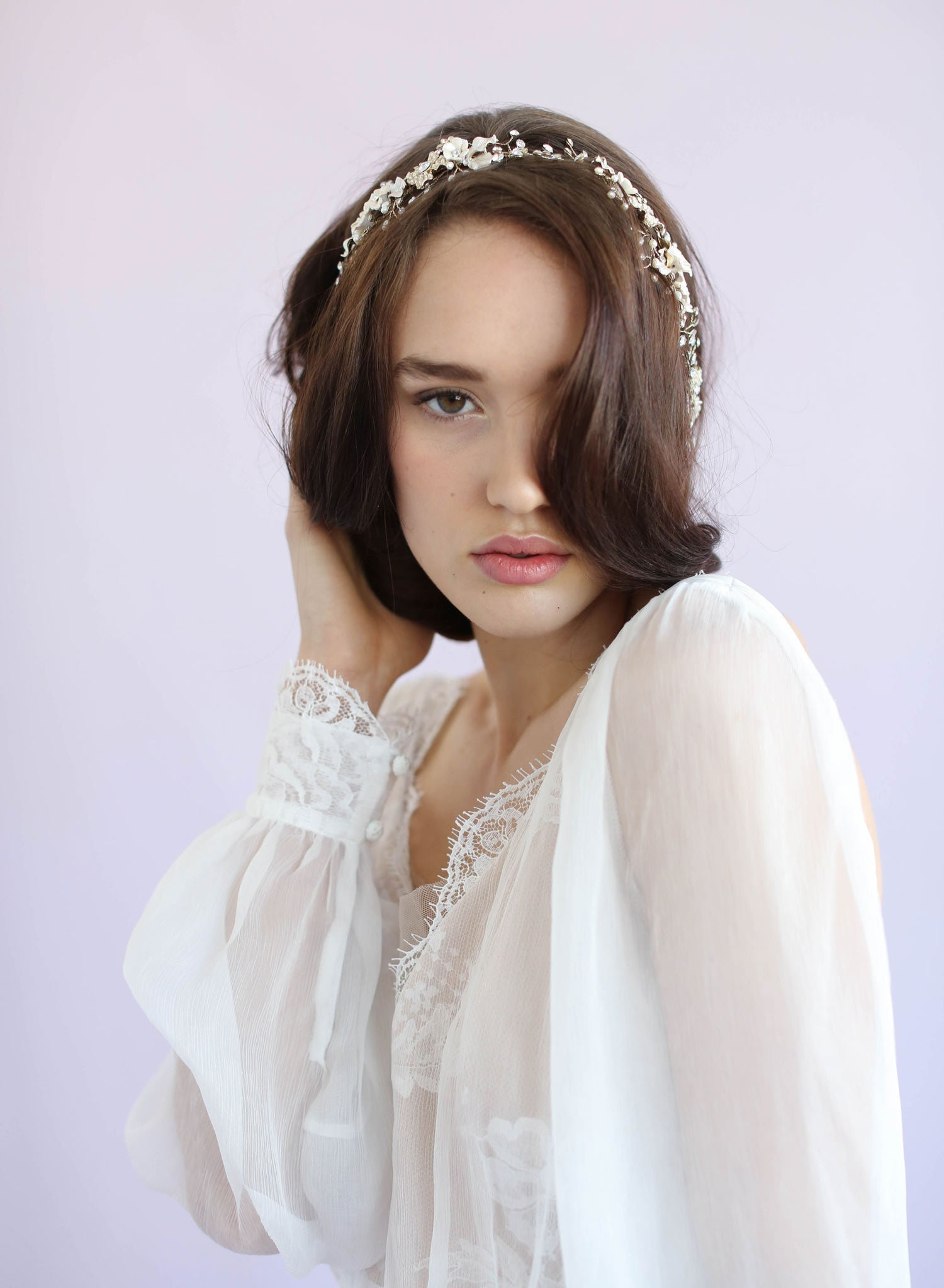 Timeless floral and crystal hair vine - Style #622