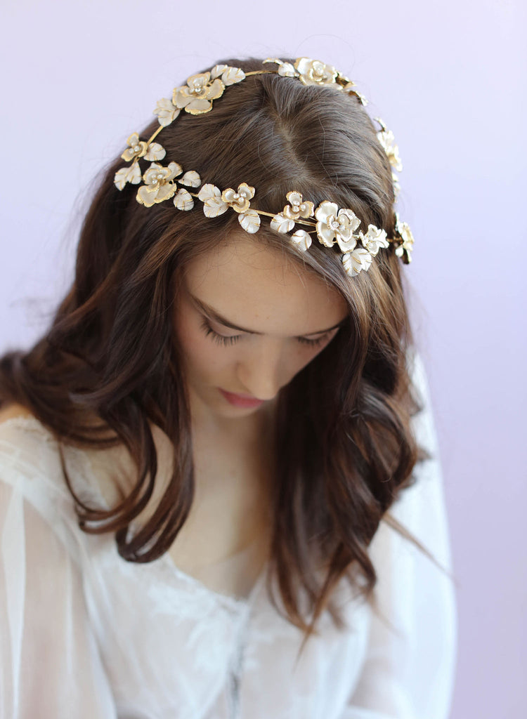 Gilded vintage inspired juliet cap, twigs and honey, bridal headpiece