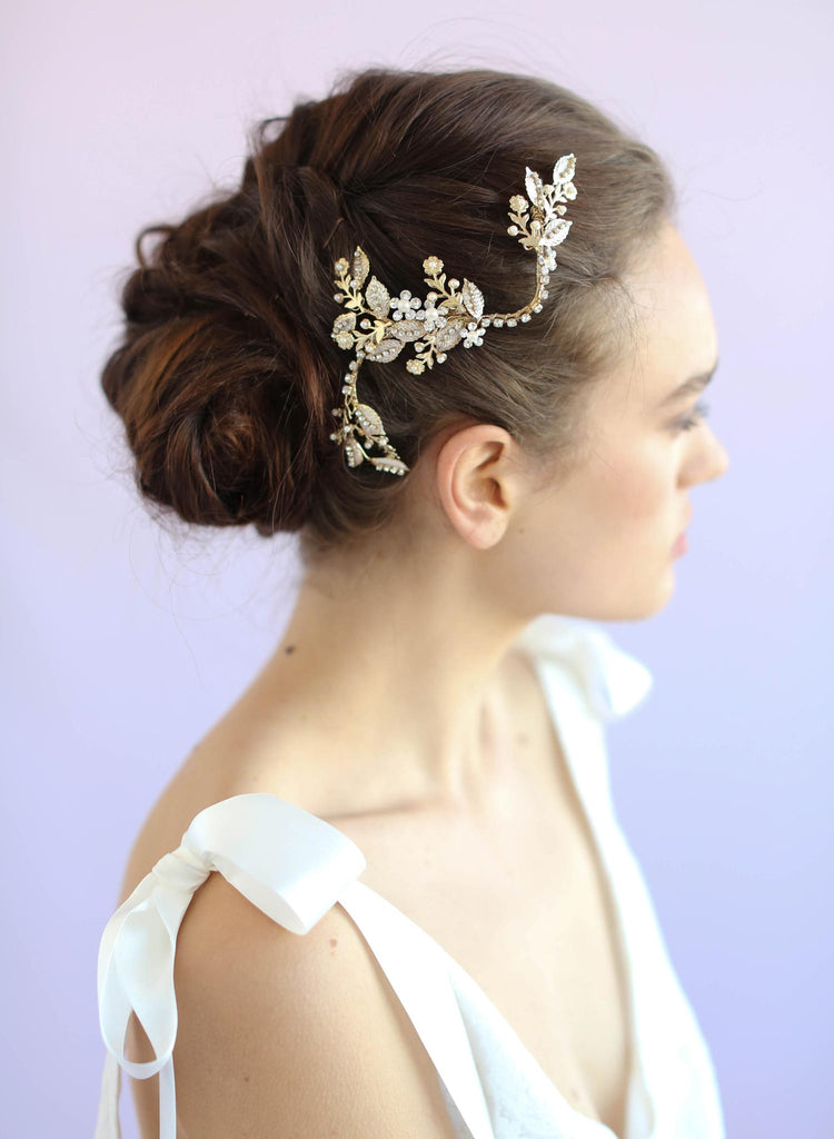 Bendy branch, bridal hair piece, twigs and honey
