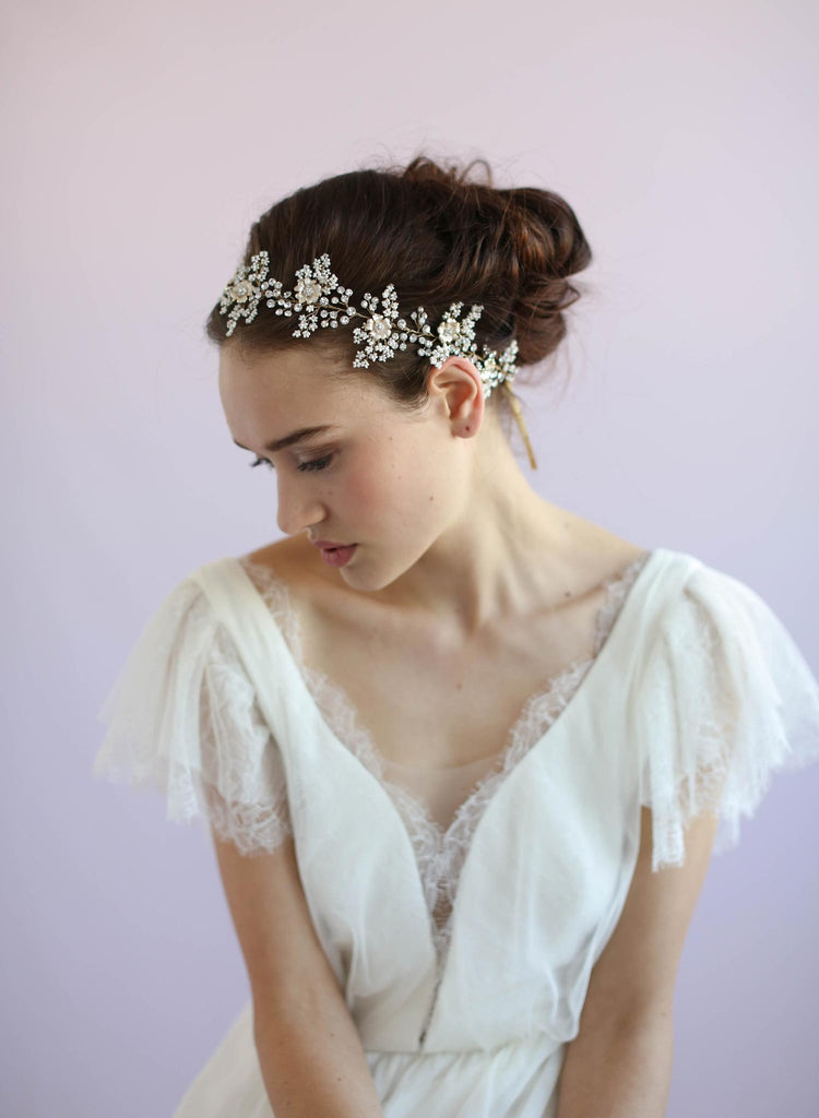 Beaded bridal hair vine, floral hair vine, twigs and honey, bridal sash