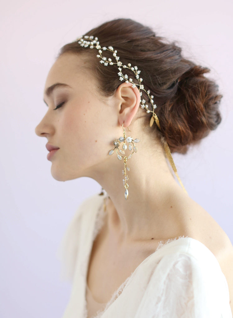 Frosted enchanted garden earrings, jewelery, twigs and honey