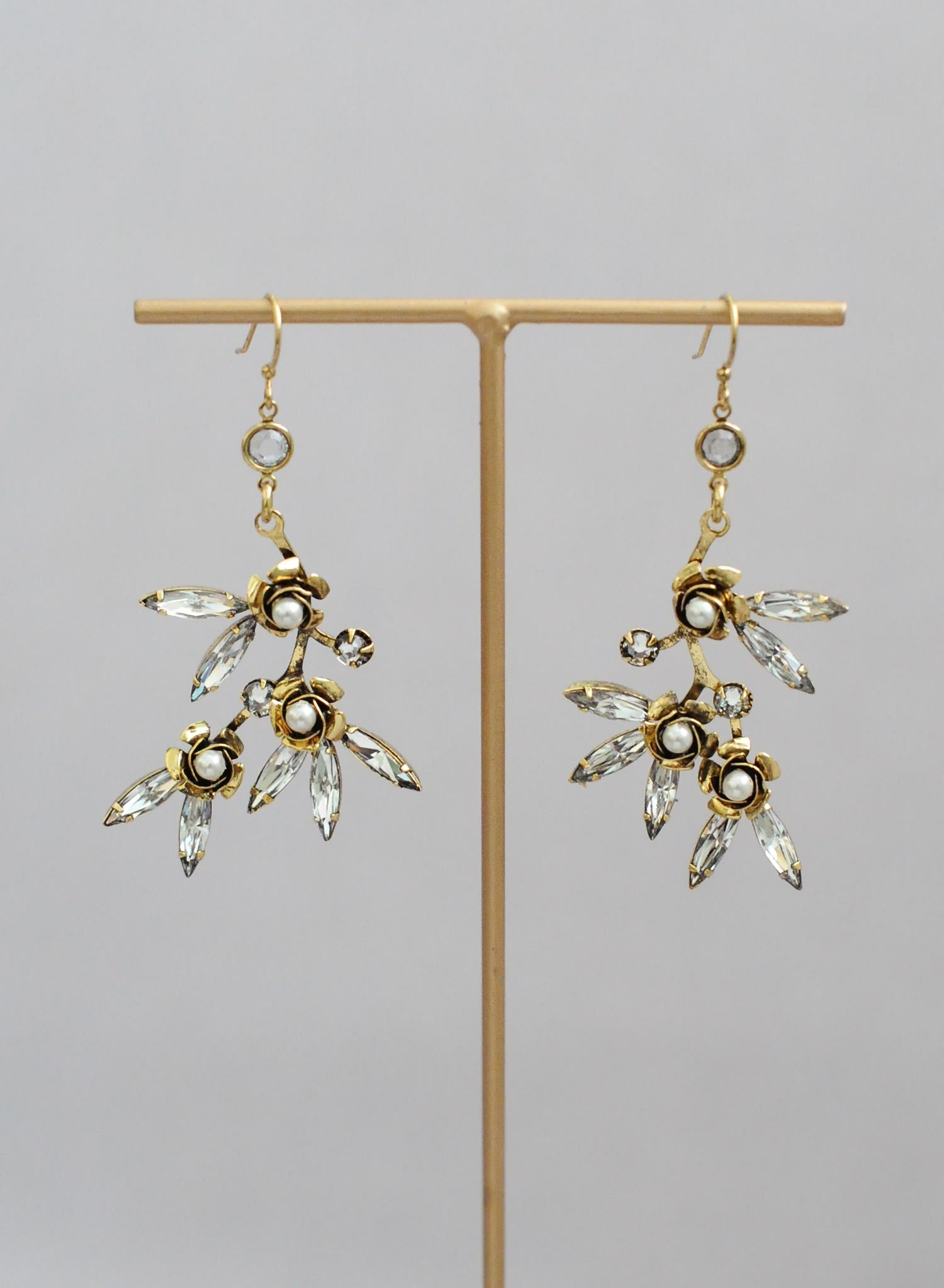 fde37ed6d ... Rosette and crystal earrings, twigs and honey, Swarovski crystals,  accessories ...