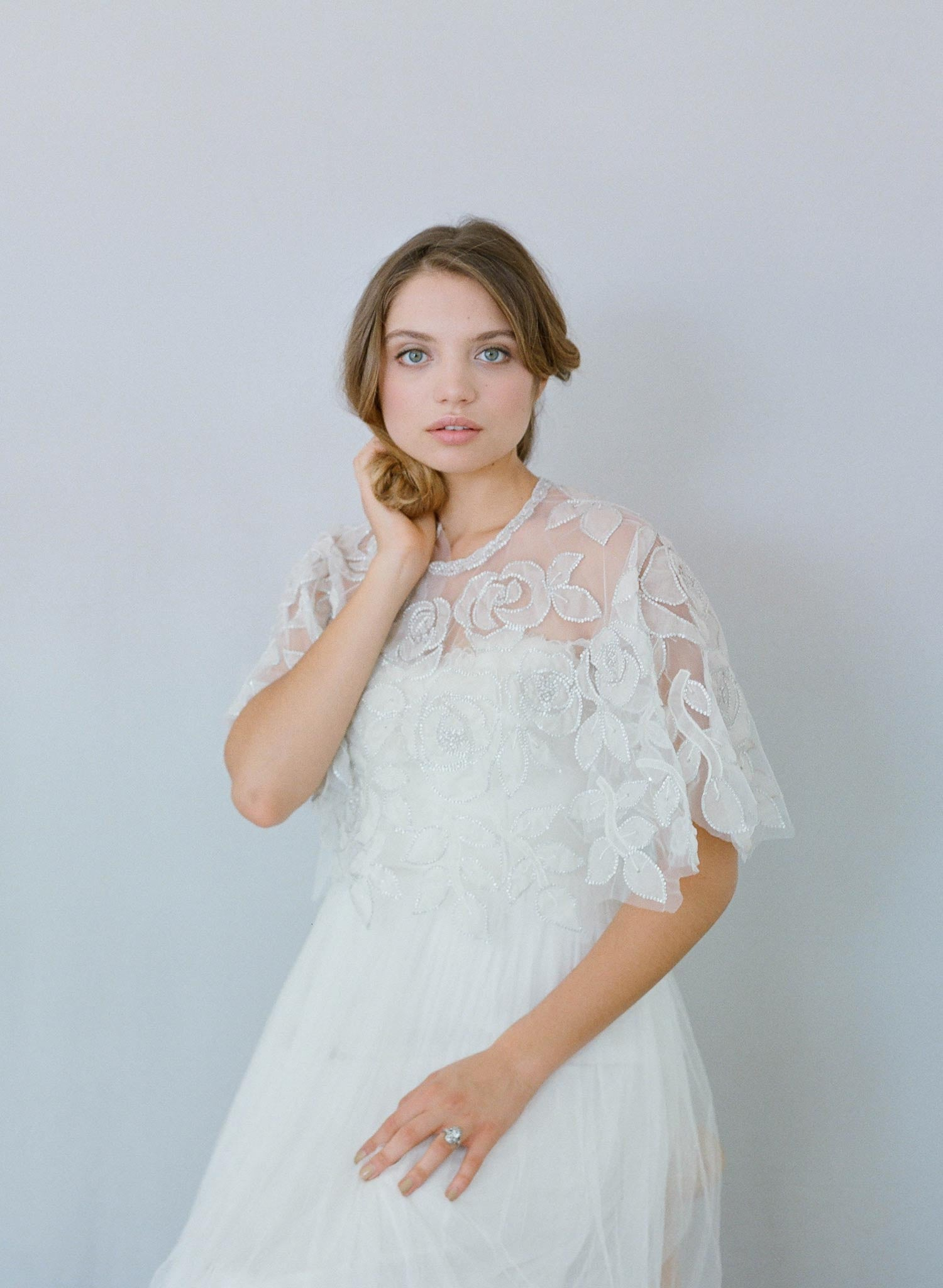 Silk and beaded circle rose cape - Style #634   Twigs & Honey ®, LLC
