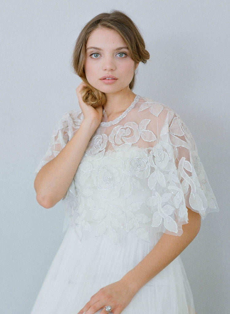 embroidered and beaded circle cape, bridal cover up, twigs and honey