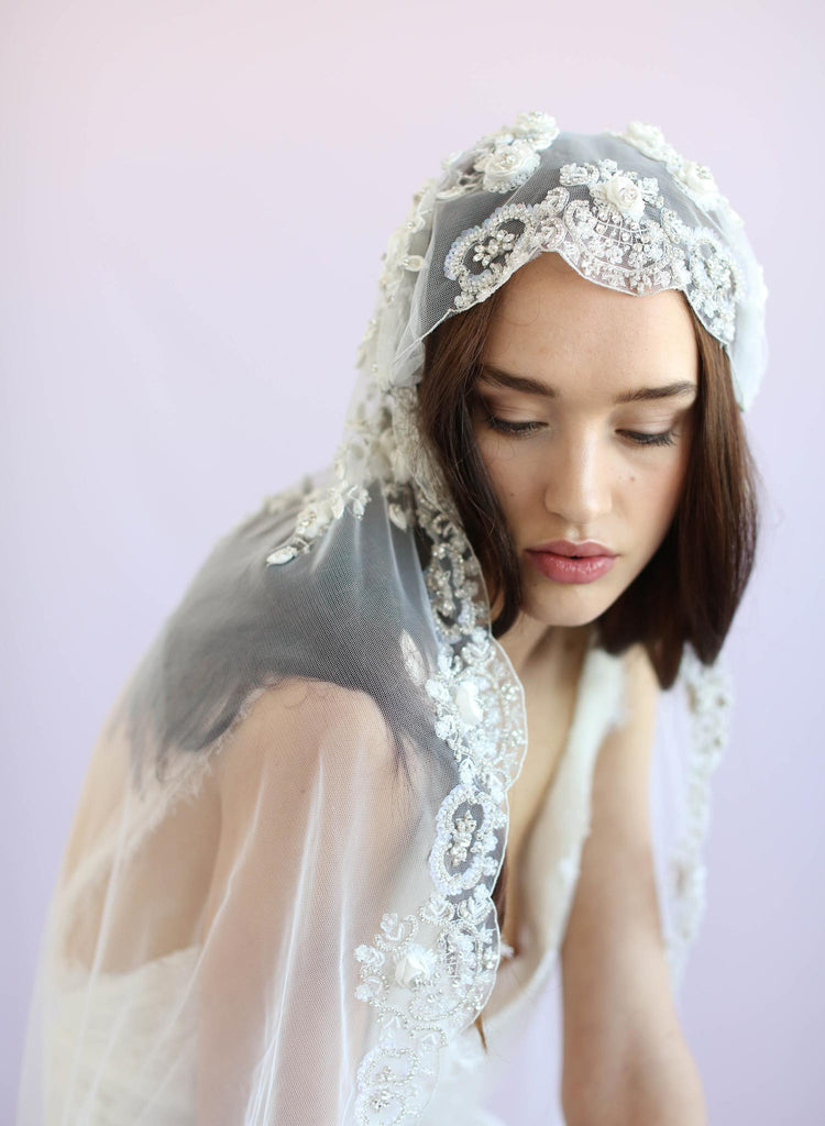 Juliet vintage inspired veil, twigs and honey, embroidered veil, bridal veil