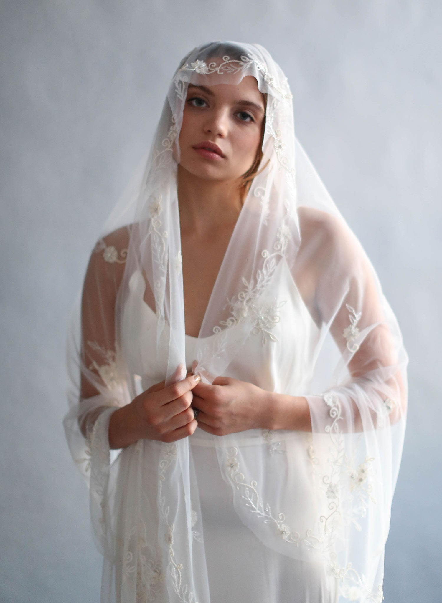 Vintage inspired, beaded Mantilla, fingertip veil - Style #637