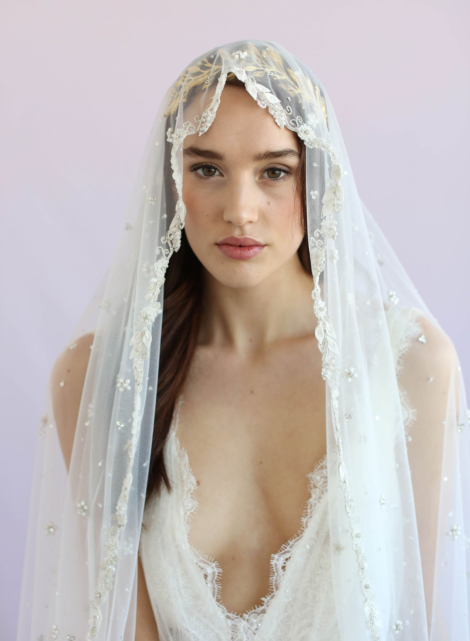 Bead speckled and embroidered Mantilla fingertip veil - Style #639
