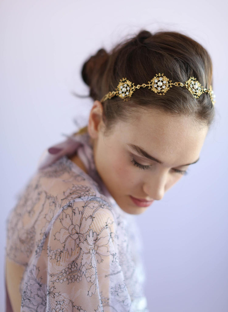 Victorian decadent headband, swarovski rhinestones, handmade, twigs and honey