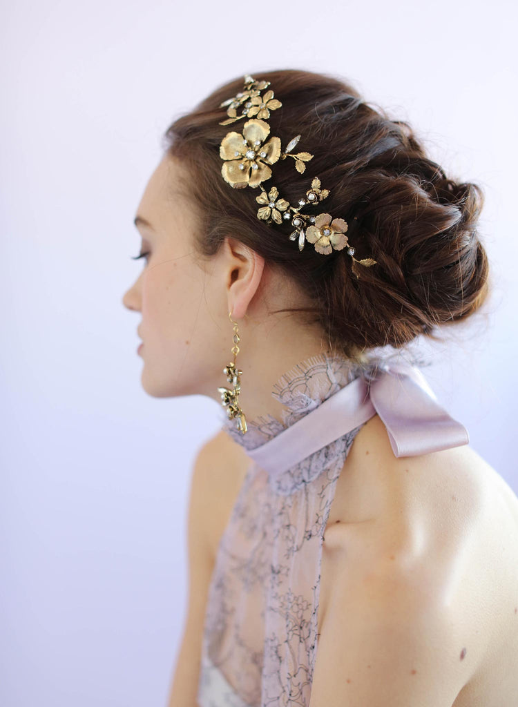 Dogwood rose gold headpiece, twigs and honey, bridal headpiece, antique gold plated