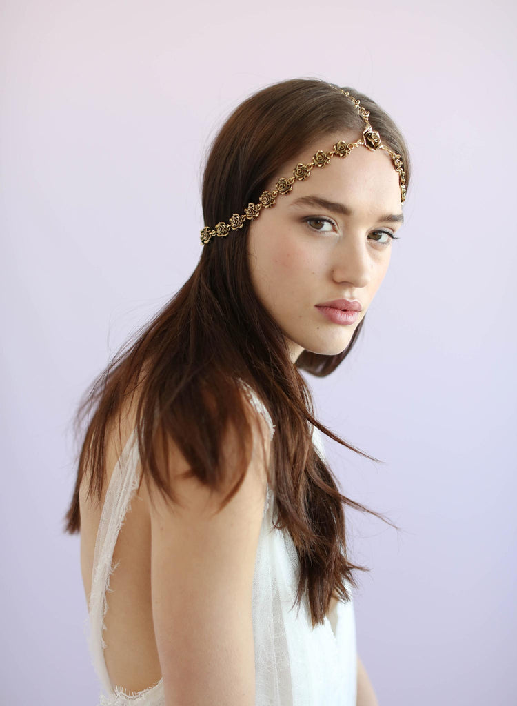 Boho bridal headpiece, gold plated rosettes, twigs and honey