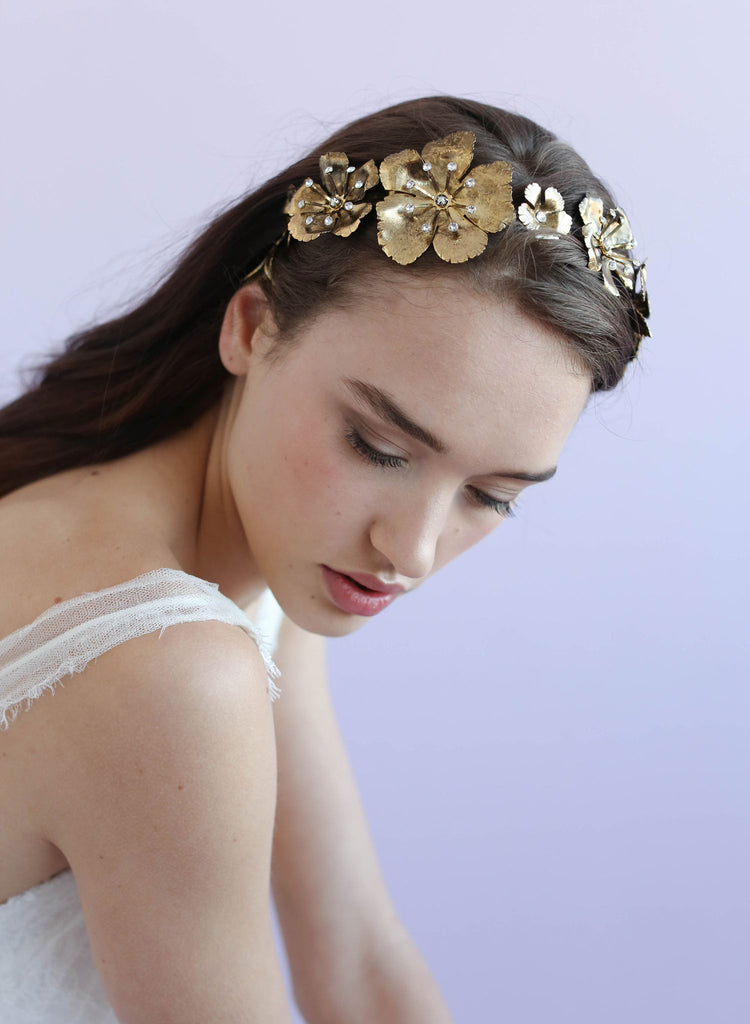 Dogwood single headband, antique gold plated, twigs and honey, bridal headband