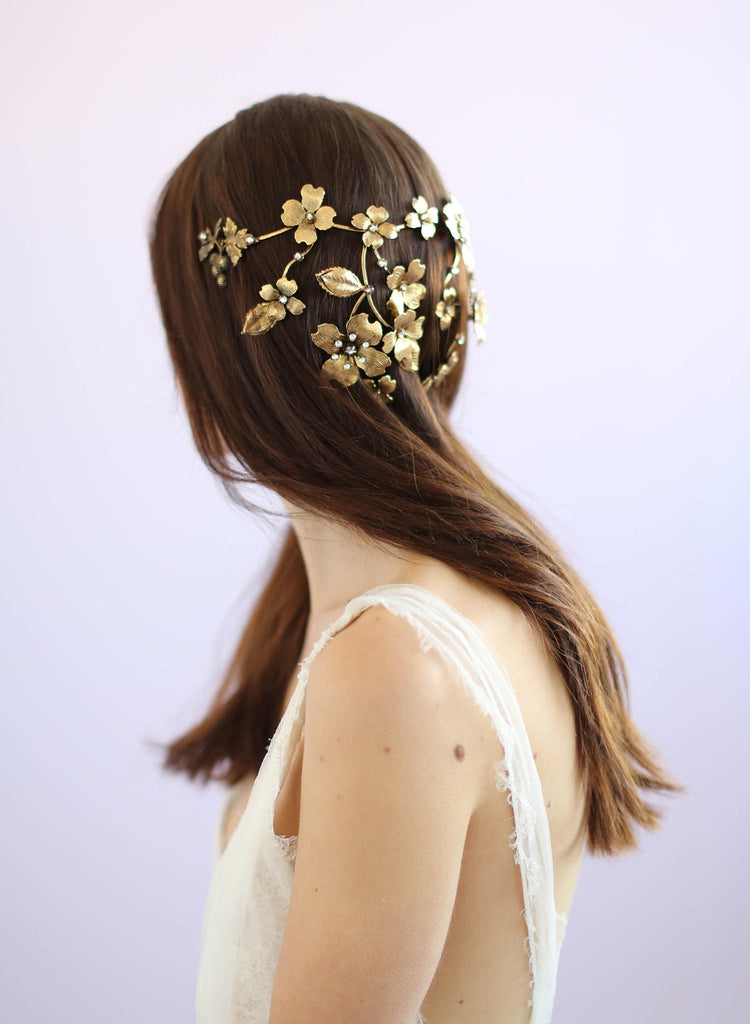 Dogwood flower reverse crown, antique gold plated, twigs and honey
