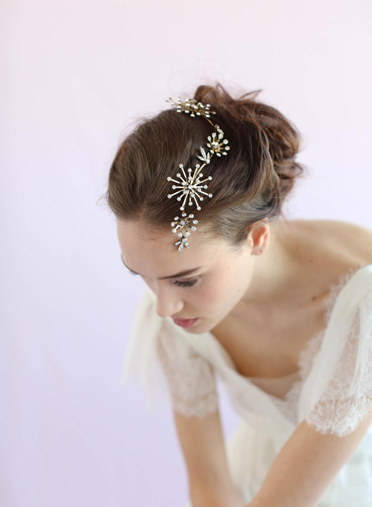 Constellation inspired headpiece, bridal headpiece, twigs and honey