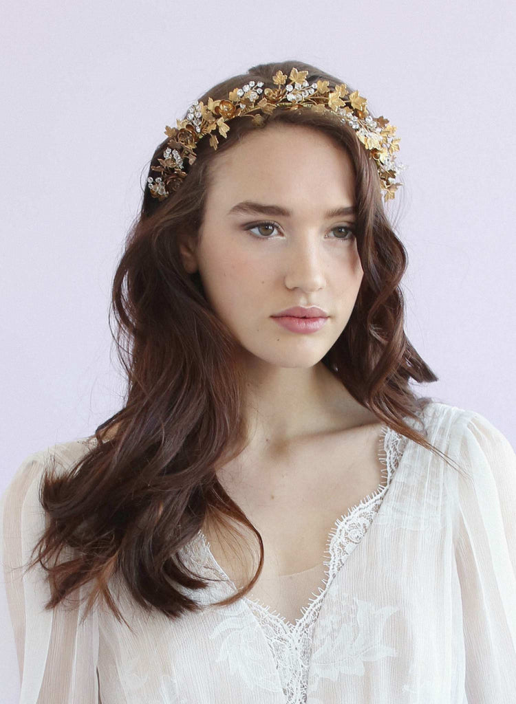 Brass dramatic garden headband, twigs and honey, handmade, bridal headband