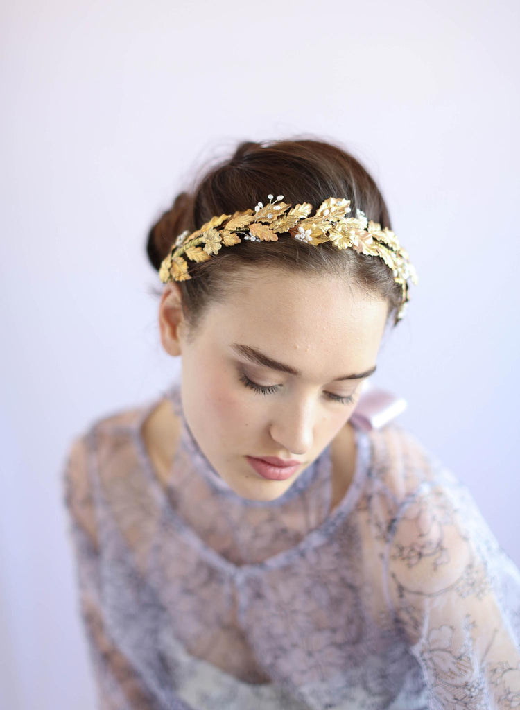 Holly leaf and crystal headpiece, bridal headband, twigs and honey