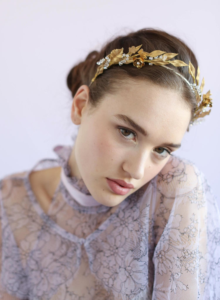 Brass ornate symmetrical headband, twigs and honey, bridal headpieces