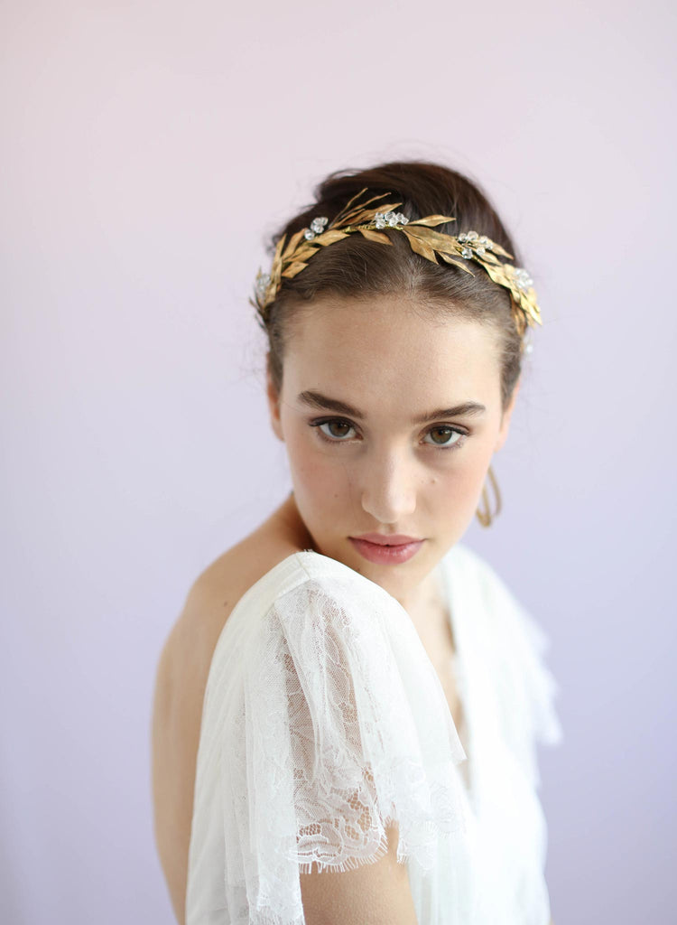 Brass fern crystal headpiece, twigs and honey, handmade