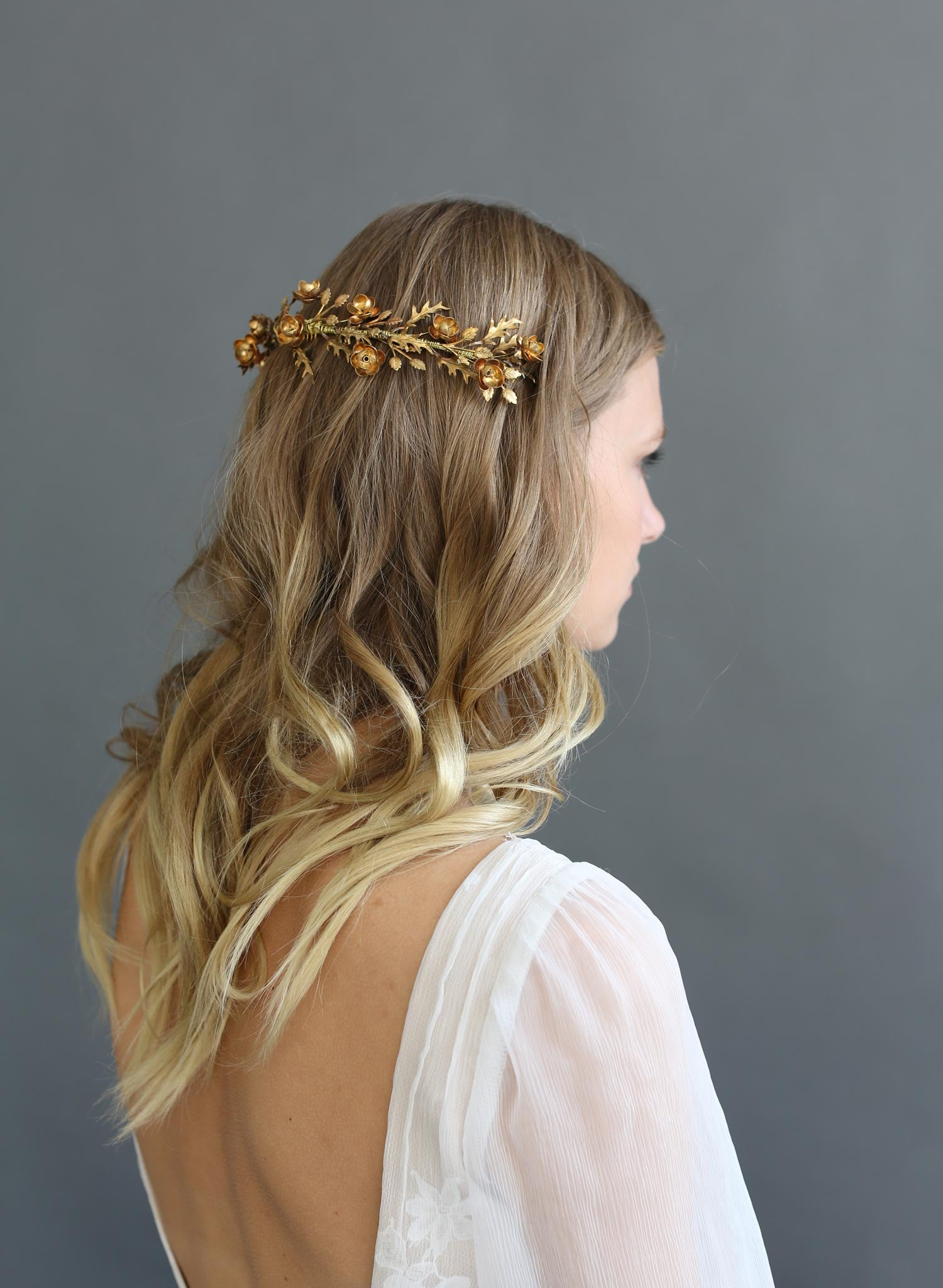 Br Bridal Headpieces Twigs And Honey - Brass handmade bridal wreath twigs and honey bridal headpiece