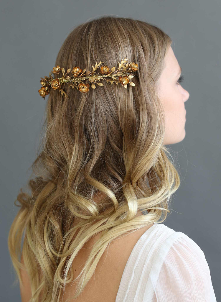 Brass handmade bridal wreath, twigs and honey, bridal headpiece