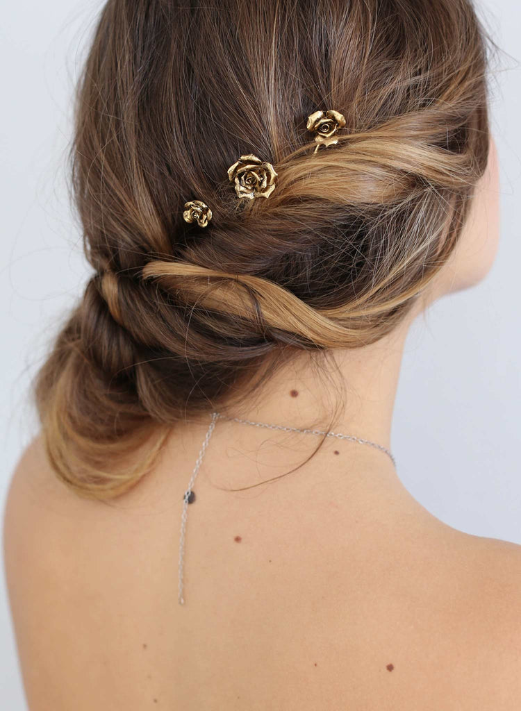 Gold rose bobby pins, hairpieces, twigs and honey