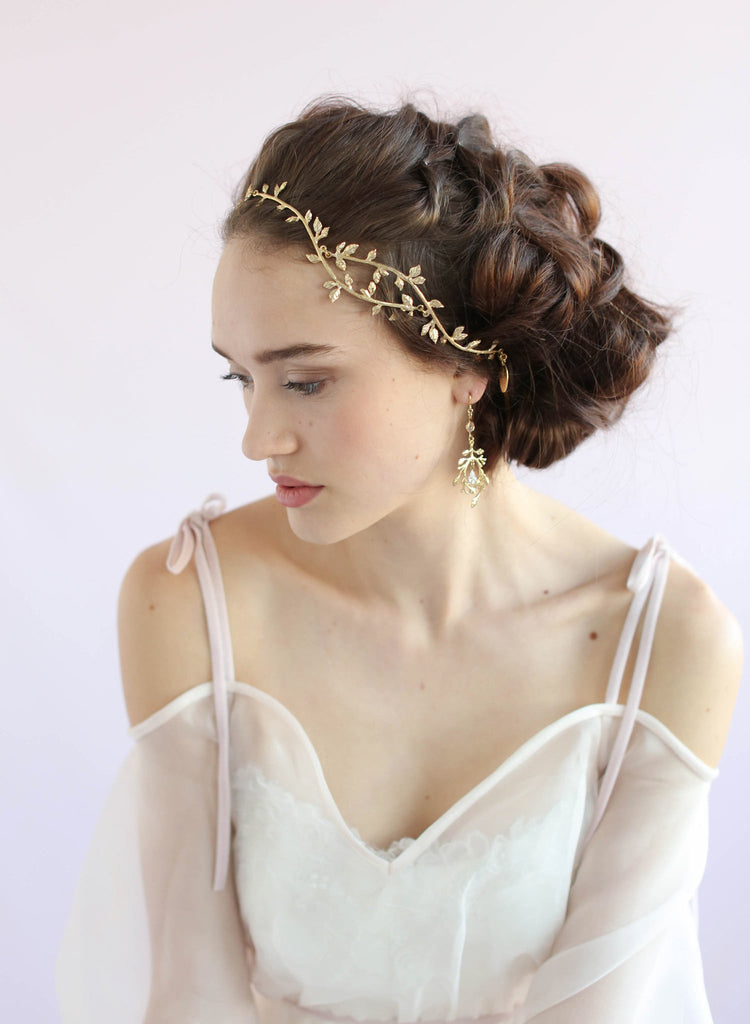 Wavy gilded handmade headpiece, bridal headband, twigs and honey